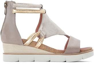 Mjus Tapasita Leather Metallic Wedge Heel Sandals