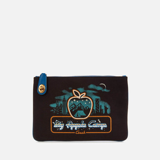 Coach 1941 Women's Retro Big Apple Camp Canvas Turnlock Pouch - Black