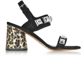 Marc Jacobs Emilie Black Leather Ankle Strap Sandal w/Studs & Animal Print Heel
