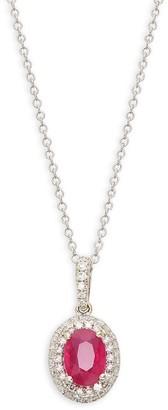 Effy 14K White Gold, Ruby Diamond Pendant Necklace