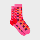 Paul Smith Women's Pink Bright Check Socks