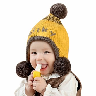 IBLUELOVER Baby Pom Pom Beanie Hat Winter Earflap Bobble Hat Fleece Lined Knitted Hat Soft Warm Skull Cap Windproof Plush Hat for Toddler Infant Boys Girls 1-3 Years Yellow