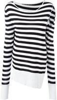 MM6 MAISON MARGIELA slit sleeve striped pullover - women - Viscose - XS