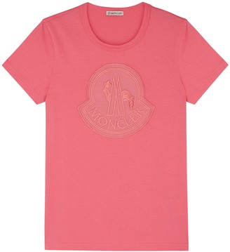Moncler Pink Logo-appliqued Cotton T-shirt