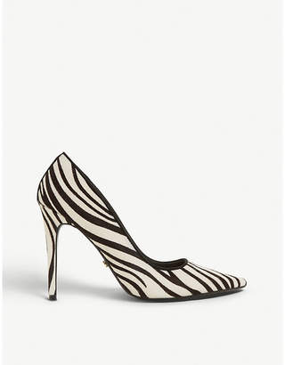 Dune Amaretti zebra-print suede court shoes