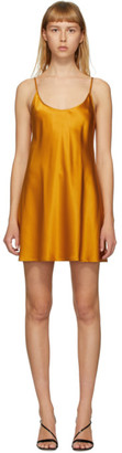La Perla Orange Silk Satin Short Slip Dress