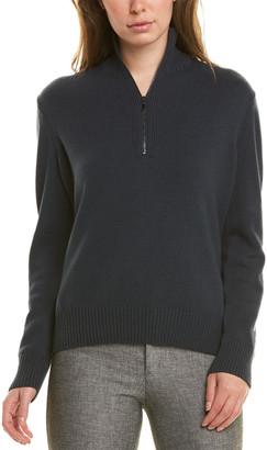 Lafayette 148 New York Stand Collar 1/4-Zip Cashmere Sweater