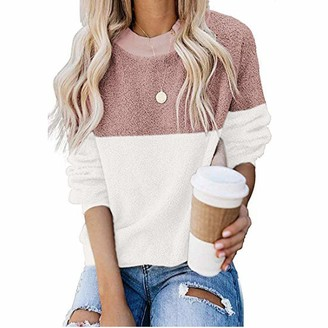 MINGGER Crewneck Jumper Womens Fashion Long Sleeve Round Neck Top Stitching Contrast Loose Plush Sweatshirt Pink