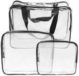 SelfTek 3 Different Size Cosmetic Makeup Toiletry PVC Travel Wash Bag Holder Pouch Set Kit Clear by SelfTek