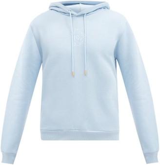 Dolce & Gabbana Logo-embroidered Cotton-blend Hooded Sweatshirt - Light Blue