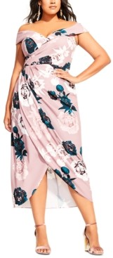 City Chic Trendy Plus Size Provocative Off-The-Shoulder Dress