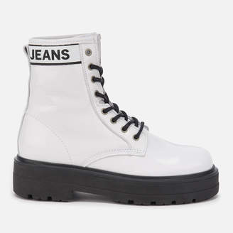 Tommy Jeans Women's Patent Leather Flatform Boots - White