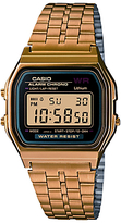 Casio A159wgea-1ef Unisex Core Classic Digital Chronograph Stainless Steel Bracelet Strap Watch, Gold