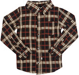 Lennon and Wolfe Plaid Woven Cotton Shirt-BROWN