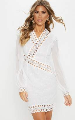PrettyLittleThing White Broderie Anglaise Long Sleeve Lace Trim Shift Dress