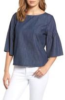 Petite Women's Caslon Ruffle Sleeve Chambray Top