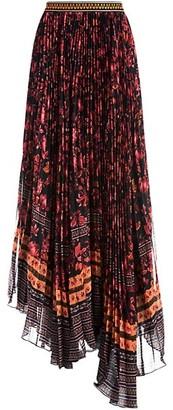 Alice + Olivia Katz Embroidered Waist Pleated Maxi Skirt