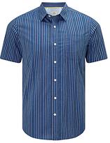 John Lewis End On End Stripe Short Sleeve Shirt, Navy