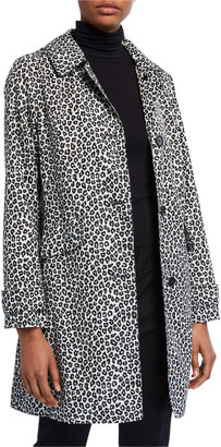 Kate Spade Leopard Print Button-Front Hooded Midi Coat