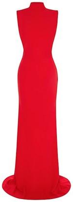 Alexander McQueen Highneck Open Back Crepe Gown