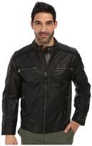 Calvin Klein Faux Leather Four Pocket Moto Jacket w/ Canvas Trim