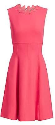 Lela Rose Women's Wave-Trimmed Stretch-Wool Dress