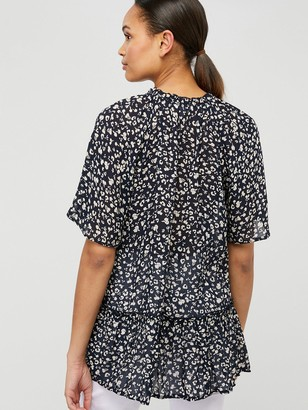Monsoon Natalie Print Sustainable Viscose Top - Navy