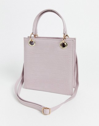 Glamorous boxy mini crossbody bag in pastel pink mock croc