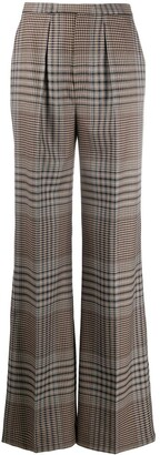Loro Piana High-Rise Wide-Leg Plaid Trousers