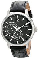 Nautica Unisex N15047G NCT 15 Stainless Steel Watch with Black Leather Band