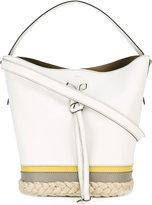 Furla raffia trim drawstring tote - women - Calf Leather/Raffia - One Size