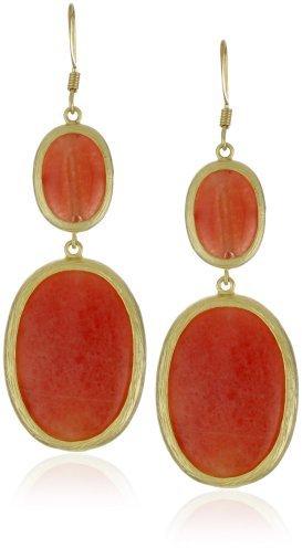 RAIN Orange Oval Drop Earrings