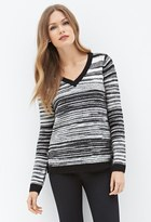 Forever 21 Contemporary Striped V-Neck Sweater