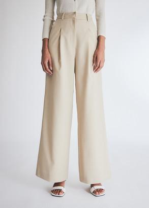 Kindersalmon Women's Wool Wide Leg Pants in Beige, Size Large
