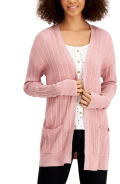 Hooked Up by IOT Juniors' Light-Rib Cardigan