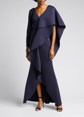 Badgley Mischka V-Neck Long-Sleeve Asymmetric Ruffle Cape Shoulder Gown