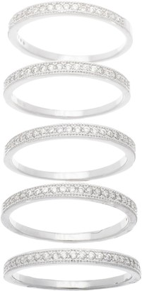 Bliss Sterling Silver Pave 5 Band Ring Set Size 8