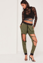 Missguided Extreme Distressed Contrast Waist Jogger Khaki