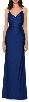 Xscape Evenings Ruched V-Neck Column Gown