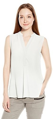 RD Style Women's Crepe Collarless Sleeveless Blouse