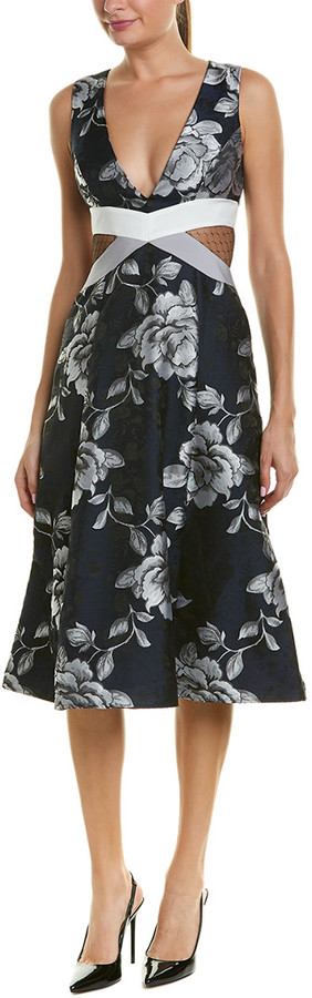 ABS by Allen Schwartz Floral Jacquard Midi Dress