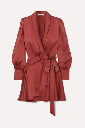 Zimmermann Silk Wrap Mini Dress - Red