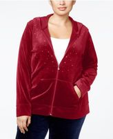 Karen Scott Plus Size Embellished Velour Hoodie, Only at Macy's