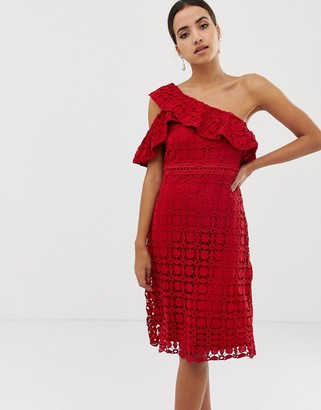 Dolly & Delicious asymetric lace midi dress-Red