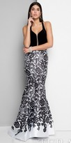 Terani Couture Fitted Cutout Lace Print Evening Dress