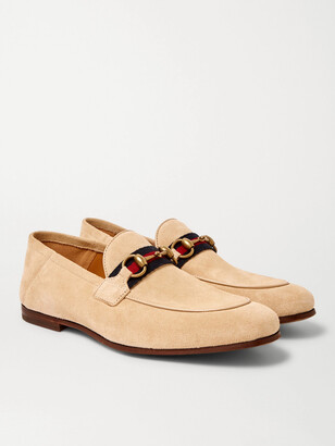 Gucci Brixton Webbing-Trimmed Horsebit Collapsible-Heel Suede Loafers