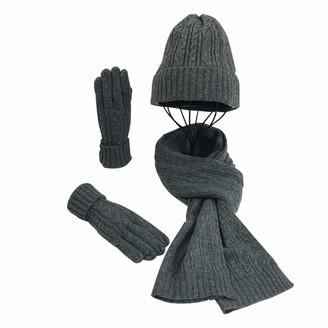 Lvguang Winter Hat Scarf Gloves Set Warm Knitted Scarf & Casual Beanie Hat & Outdoor Thicken Gloves (Dark Grey)