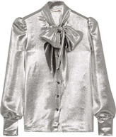 Saint Laurent Pussy-bow Silk-blend Lamé Blouse - Silver