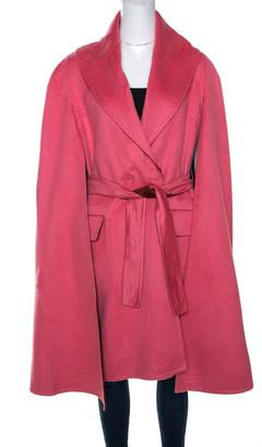 Max Mara x Atelier Coral Pink Cashmere Cape Coat M
