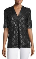 Neiman Marcus Diamond Laser-Cut Leather Tunic, Black